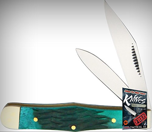 Frost Cutlery FMBS085GPB Coke Bottle Folding Limited Elite Knife Green Pick Bone Handle Folder + free eBook by ProTactical'US