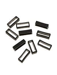 10x Black Watch Band Strap Replacement Small Rubber Strap Loops Holder 22mm