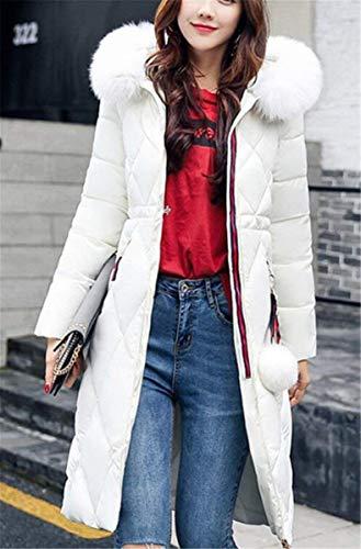 avec Style Zipper Unie Fermeture Branch Manteau Couleur Spcial Poches Longues Blanc Outwear Doudoune Hiver clair Longues Latrales Unicolore Manteau Femme BoBoLily Parka Manches wWqHv7qC