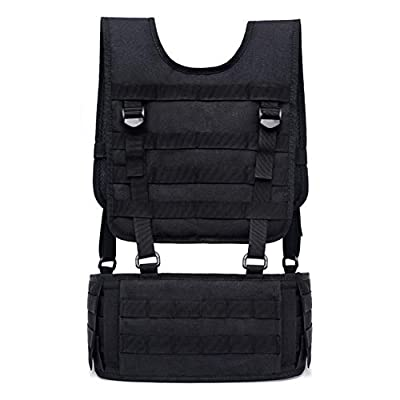 TUXI Tactical Vest with Suspender Straps, Comfortable Airsoft Battle Belt, Perspirated Chest Harness with Molle System for Patrol Army Training Outdoor and Field Training
