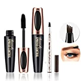 DC-BEAUTIFUL 4D Eyelash MascaraCream and Tattoo Eyebrow Pencil (Chestnut) Set, Waterproof Eyebrow Pen with Micro-Fork Tips, Natural Thickening Curling Mascara, Beauty Make up Set Must
