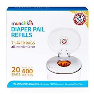 Munchkin Arm and Hammer Diaper Pail Snap, Seal and Toss Refill Bags, Holds 600 Diapers, 20 Count