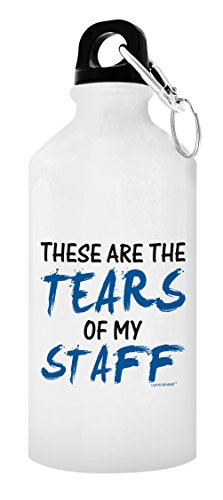 ThisWear Boss Gifts for Women Boss Gift Tears of my Staff Fun Boss or Coworker Gag Birthday Gifts for Boss Gift 20-oz Aluminum Water Bottle with Carabiner Clip Top White