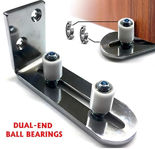 Floradis Large Chrome Plated Floor Guide for Bottom of Sliding Barn Doors. Lay-Flat System. Sits Flush to Floor. Ultra Smooth Fully Adjustable Wall Mount Stay Roller Guide. Ball Bearings Technology