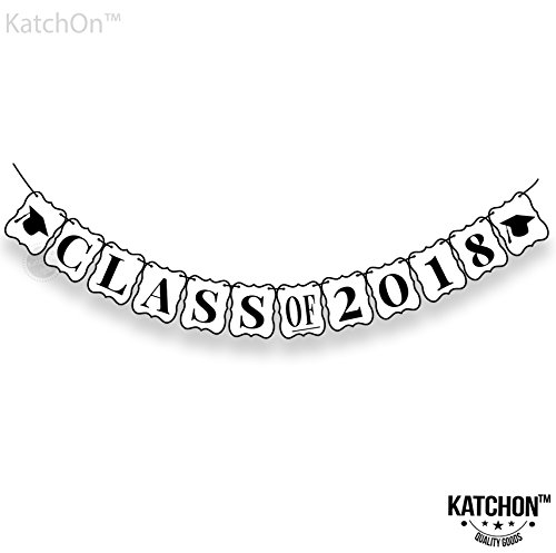 Class of 2018 Graduation Banner Decorations - No-DIY Required, Classy Graduation Decorations Sign for College Grad Party, High School Graduation Party Supplies 2018, White and Black,Large,8 x 6.5 Inch -