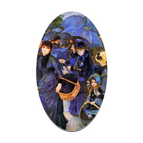 CafePress Renoir Umbrellas Oval Bumper Sticker, Euro Oval Car Decal