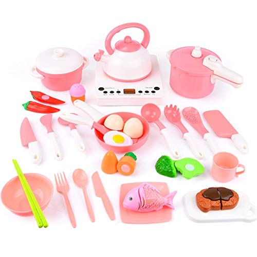 Sotodik 30PCS Kitchen Toys for Kids Cooking, Pretend Play Toys Kitchen Playset with Induction Cooker Pots Pans Utensils Play Food Cutting, Educational Cooking Toys for Toddler Boys and Girls (Pink)