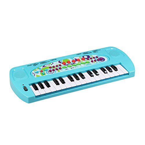 aPerfectLife Pinao Kids, 32 Keys Multifunction Electronic Kids Piano Keyboard Musical Instrument Kids Microphone (Blue)