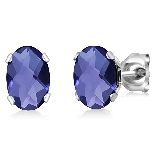 Beautiful Oval Checkerboard Shape (1.30 Ct Oval Checkerboard Shape Iolite 925 Sterling Silver Stud Earrings)