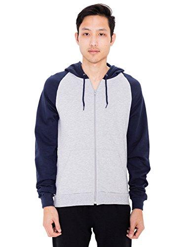 American Apparel Men California Fleece Zip Hoodie Size XL Heather -