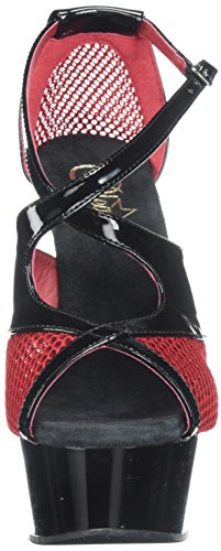 652 red Black Patent Sandal Fishnet Black Delight Pleaser Black Women's 6xHn0EXa