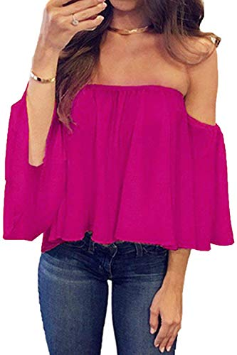BLUETIME Women Casual Loose Chiffon T Shirt Tunic Blouse Ruffles Sleeve Sexy Summer Off Shoulder Tops (S, Rose Red) ()