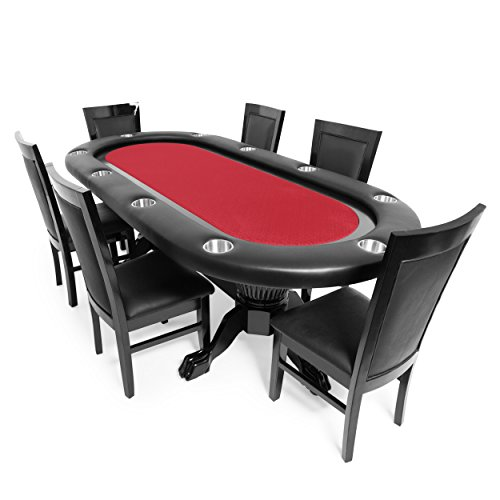 BBO Poker Elite Poker Table for 10 Players with Red Speed Cloth Playing Surface, 94 x 44-Inch Oval, Includes 6 Dining Chairs by BBO Poker