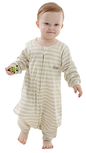O.C.E Baby Sleepbag Baby Sleeping Bag 100% Cotton Toddler Wearable Blanket with Sleeves,Green Strip,L by O.C.E Baby