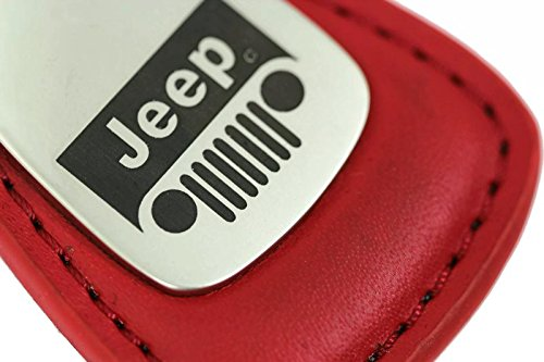 Jeep Grill Leather Key Chain Red Tear Drop Key Ring Fob Lanyard