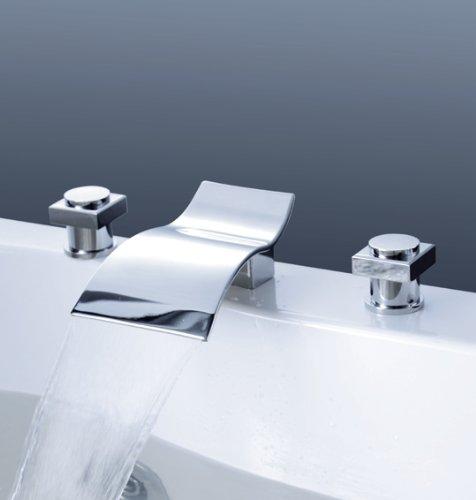 Luxury 3 Pcs Wide Spray Tap 2 Handle Waterfall Bathroom Basin Sink Bathtub Mixer Faucet , Chrome Finish Ys-9140