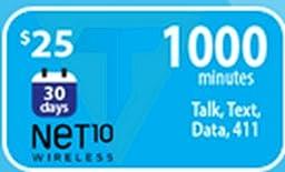 Net10 Monthly Plan Refill Card $25
