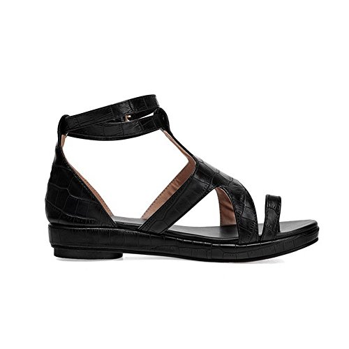 AllhqFashion Mujeres Puntera Dividida Hebilla Cuero Sólido Mini Tacón Sandalia Negro