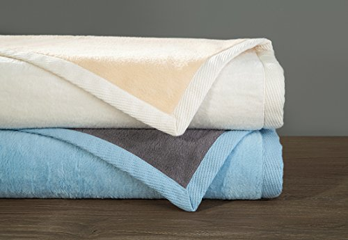 DownTown Company,100% Natural Cashmere Cotton Reversible Blanket - Throw - Soft as Cashmere, Camel/Ivory Color, Throw Size