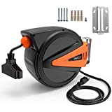 TACKLIFE Cord Reel,50+4.5ft Retractable Extension Cord, 14AWG, 3C SJTOW, 180°Swivel Ceiling or Mounting Metal Slotted Base, Tri Tap Connector, Reset Button and Adjustable Stopper