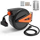 TACKLIFE Retractable Extension Cord, 50+4.5ft Extension Cord Reel, 14AWG, 3C SJTOW, 180° Swivel Ceiling or Mounting Metal Slotted Bracket, Tri Tap Connector, Reset Button and Adjustable Stopper