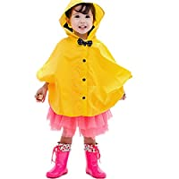 Taiduosheng Age 2~5 Kids Hooded Button Down Jacket Rain Raincoat with Bow Cover Long Rainwear Yellow L