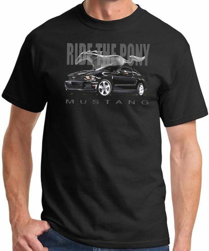 Ford Mustang Ride the Pony Mens Black T-shirt