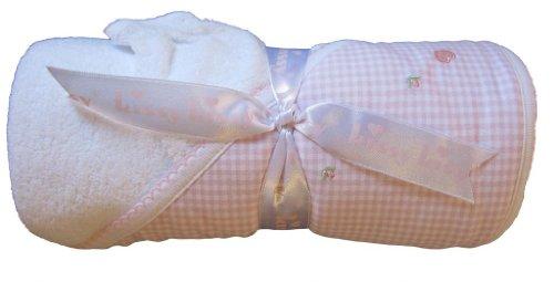 Kissy Kissy Baby Girls Homeward Gingham Hearts Hooded Towel with Wash Mitt - 1