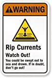 """Rip Currents Watch Out! - You Could Be, Engineer Grade Reflective Aluminum Sign, 80 mil, 24"""" x 18"""""""