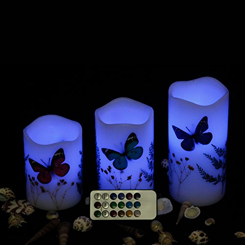 Tbw Set Of 3 Dried Flower Flameless Led Candles With