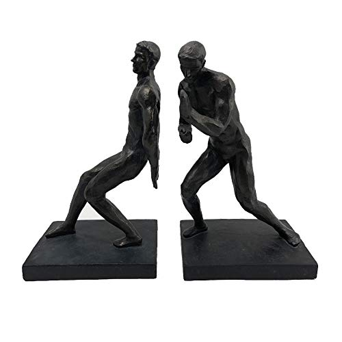 Comfy Hour Resin Set of 2 Gymnastic Men Bookends Art Bookends Solid Heavy Weight, Black