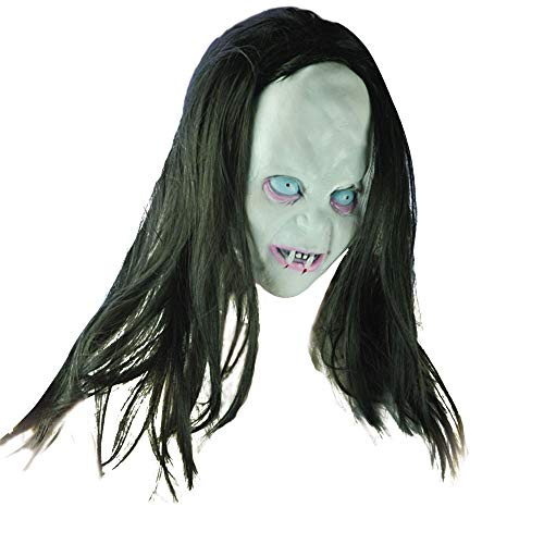 Euone  Halloween Clearance , Horror Long Hair Witch Mask Woman Men Full Face Latex Masks -