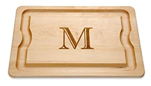 "J.K. Adams 20-Inch-by-14-Inch Maple Wood Monogrammed BBQ Cutting Board, ""M"""