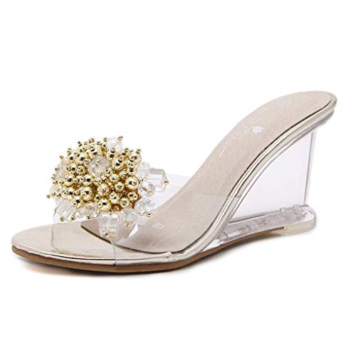 KEREE Women Wedge Platform Mid Heel Sandals Crystal Transparent Charming Slip On Slippers Fashion Summer Ladies Party Dress Shoes Gold