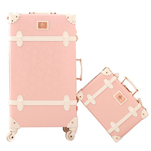 Travel Vintage Luggage Sets Cute Trolley Suitcases Set Lightweight Trunk Retro Style for Women Princess Pink 26