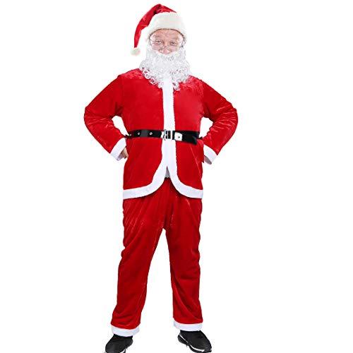Men's Santa Claus Costume Father Christmas Adult Cosplay Costume Plush Santa Suit,5pcs