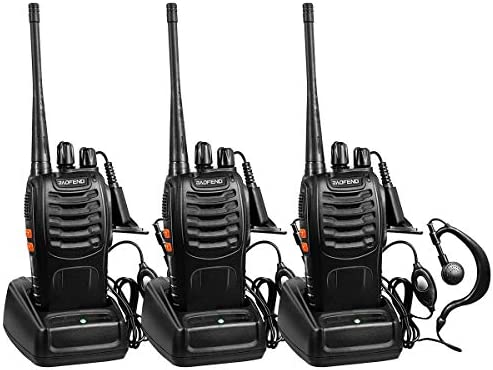 BaoFeng Rechargeable Long Range Two-Way Radios with Earpiece 3 Pack UHF 400-470Mhz Adult Walkie Talkies Li-ion Battery and Charger Included