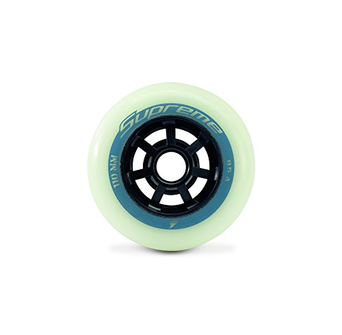 Rollerblade Supreme Glow 110mm 85A Wheels (8 Pack), White, One Size ()