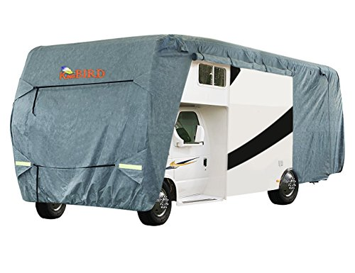 KING BIRD Extra-Thick 4-Ply Top Panel & 4Pcs Tire Covers Class C RV Cover, Fits 20'-23' RV Cover -Breathable Water-Repellent Rip-Stop Anti-UV with Storage Bag (20'-23'New)