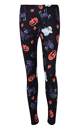DREAGAL Cute Lovely Bat Cat Leggings for Women Pumpkin Ghost Leaves Pants 3X-Large