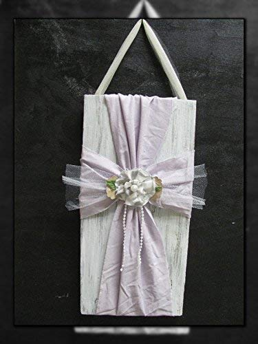 Cross newborn shower gift Baptism Wooden Fabric whitewash LAVENDER shabby chic girls nursery bedroom decor baby Dedication Barnwood rustic vintage