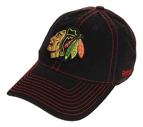 Reebok Scrubs - Reebok NHL Men's Chicago Blackhawks Slouch Brim Adjustable Cap, Black One Size