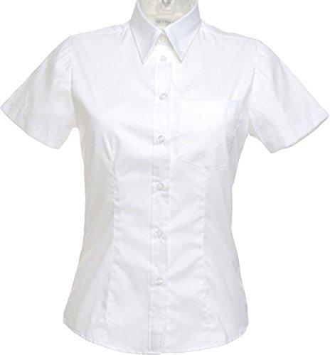 Kustom bolsillo para la placa de para mujer de ángel y Corporate juego de manga corta Classic en la parte superior y un cuello camiseta de manga corta de Oxford azul claro