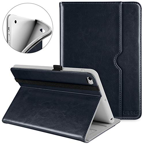 DTTO iPad Mini 4 Case, Premium Leather Folio Stand Cover Case with Multi-Angle Viewing and Auto Wake-Sleep Function, Front Pocket for Apple iPad Mini 4 - Blue ()