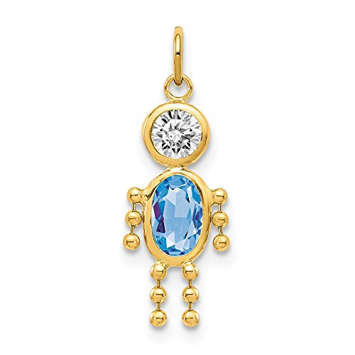 14k Yellow Gold March Boy Birthstone Pendant Charm Necklace Kid Fine Jewelry Gifts For Women For Her