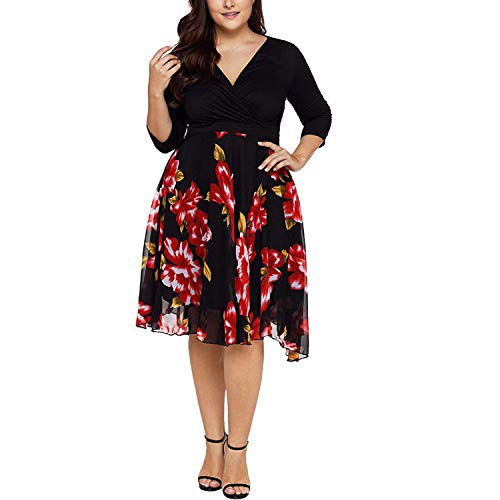 5XL Big Size Dresses Chiffon Patchwork Flower Print Party Evening Prom Swing Dress,Black,XXL,C