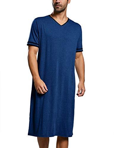 Runcati Mens Sleepshirt Cotton Nightshirt V Neck Short Sleeve PJ Comfy Soft Sleepwear Plain Nightgown Pajamas Navy