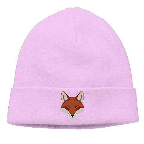 Big Fox Head Unisex Cuffed Plain Skull Beanie toboggan Knit Hat Pink