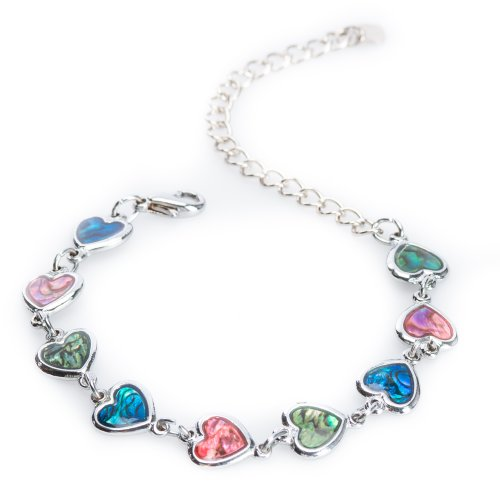Silver-tone Paua Shell Heart Link Anklet by Jewely (Heart Shell Anklet)