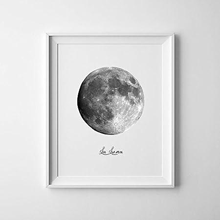 Magictrees Bumblebees Full Moon Print La Luna Poster